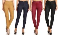 JVINI Women's Soft Cotton-Blend Skinny Jeggings. Plus Sizes Available.