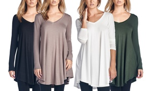 Long Sleeve V-Neck Tunic Top (Regular and Plus Sizes)