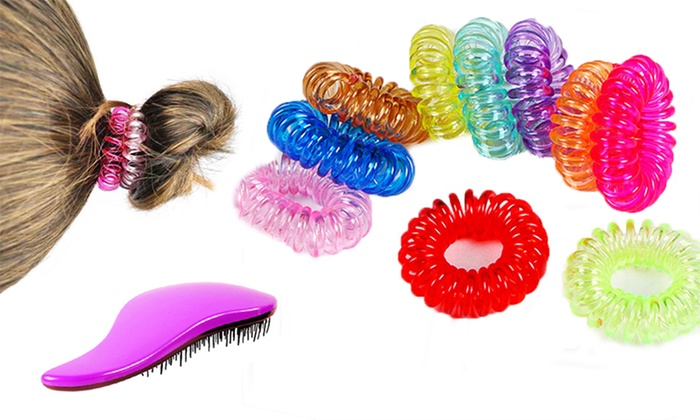 Fun and Colorful Coil Hair Ties Plus Bonus De-Tangling Brush (40-Piece) 7f324c5ed35