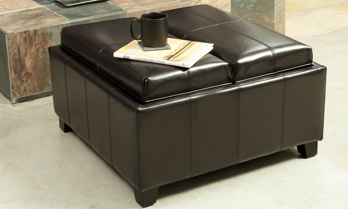 Plymouth Tray Top Bonded Leather Storage Ottoman - Plymouth Tray Top Bonded Leather Storage Ottoman Groupon