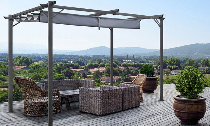 jusqu 39 50 pergola cordoba toit r tractable groupon. Black Bedroom Furniture Sets. Home Design Ideas