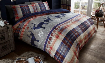 Heritage Stag Duvet Set or Curtains in Choice of Size and Colour