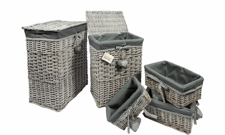 Set of Five Wicker Laundry and Storage Baskets in Choice of Colours for £49.99 With Free Delivery