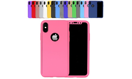 One or Two FullBody Cases and Tempered Glass Screen Protectors for iPhone X or 5/5S/SE