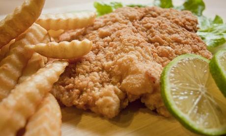 Schnitzel mit Salat_k holländischen Pommes und Dessert für 2 oder 4 Personen bei City Fritti (bis zu 41% sparen*)
