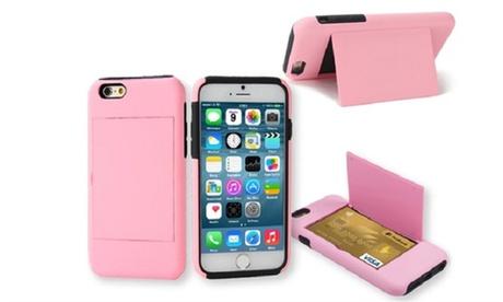 Funda para iPhone 5, 6 y 6 Plus con tarjetero y soporte posterior