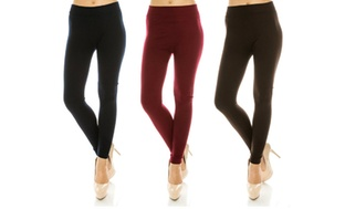 3-Pack One-Size High-Waist Solid Fleece-Lined Women's Leggings