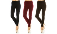 3-Pack One-Size High-Waist Solid Fleece-Lined Women's Leggings (Multi Colors)