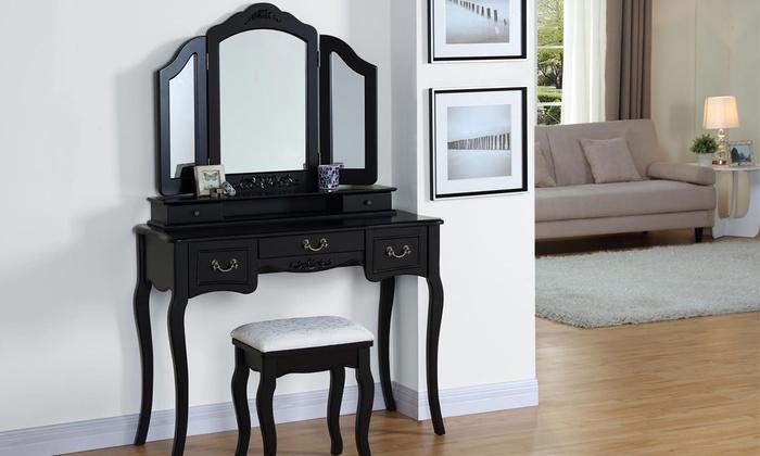 Verwonderlijk Luxe make-up dressoir met kruk | Groupon Goods OP-79