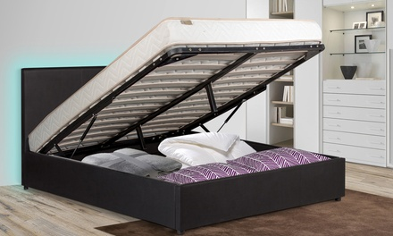 lit coffre prima led avec ou sans matelas groupon shopping. Black Bedroom Furniture Sets. Home Design Ideas