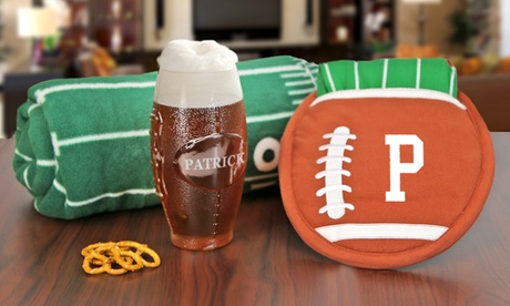 Monogram Online Custom Football Shaped Glass, Potholder and Towel, or Fleece Throw (Up to 83% Off) photo