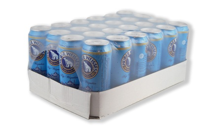 24 x 500ml Cans of Huber Weisses Original Hefe Weissbier for £39.99 With Free Delivery