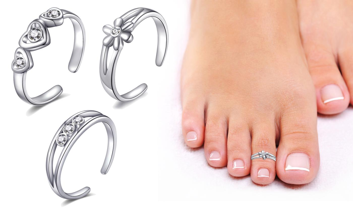 Three- or Six-Piece Set of Philip Jones Silver Toe Rings with Crystals from Swarovski®