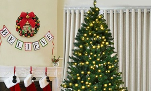 Pre-Lit PVC Artificial Christmas Tree with Pre-Installed LED Lights