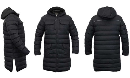 Men's Brave Soul Long Line Hooded Puffa Jacket in Choice of Size for £29.99 With Free Delivery