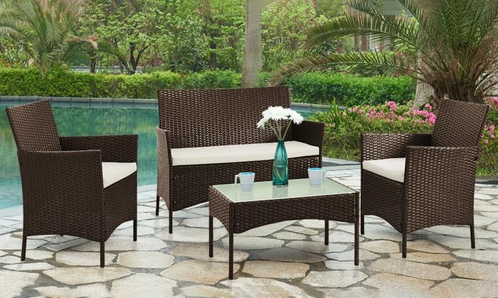 4 piece pe rattan furniture set groupon for Outdoor furniture groupon