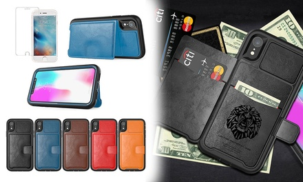$12 for a PU Leather Wallet Case with Card Slots Kickstand for iPhone