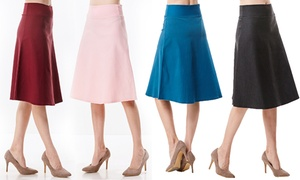 Women's Flared Stretchy Woven Skirt