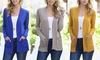 Women's Ribbed Open-Front Pocket Cardigan