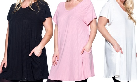 Step Up Women's Plus Size V-Neck Swing Top with Pockets