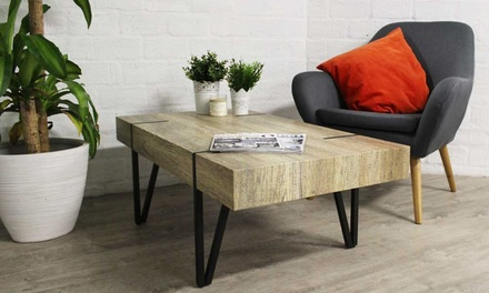 tables basses industrielles groupon shopping. Black Bedroom Furniture Sets. Home Design Ideas