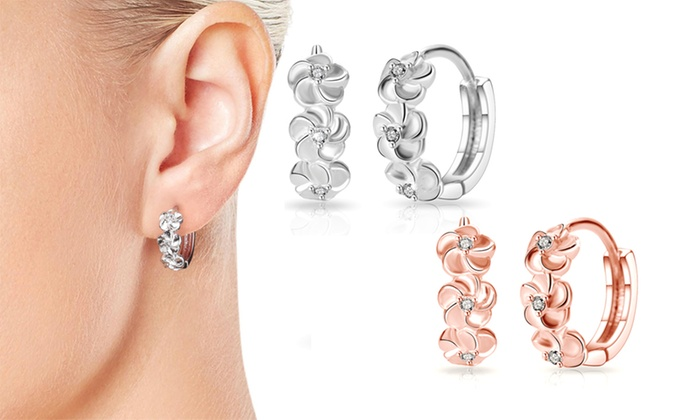 Groupon Goods Global GmbH: One or Two Pairs of Philip Jones Flower Hoop Earrings with Crystals from Swarovski®