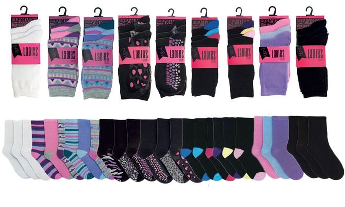 12 or 24 Pairs of Women's Assorted Socks for £4.99