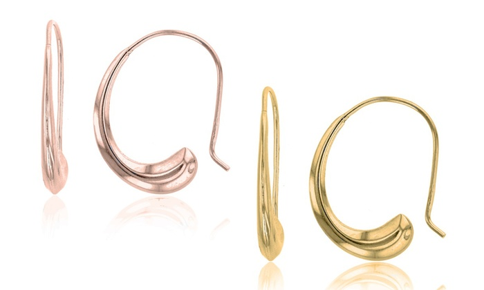 28d86e94d Fish Hook Hoop Earrings in Gold Plated or Rose Gold Plated Sterling Silver  by Decadence