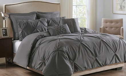 SevenPiece Pleat Comforter Set: Double $59, Queen $69 or King $79 Don't Pay up to $229