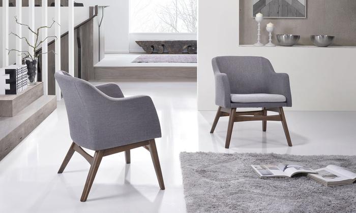 baxton studio vera walnut wood grey fabric lounge chairs set of 2 baxton studio lounge chair