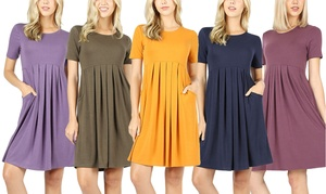 be7e51c83 Riah Fashion Short Sleeved Empire Pleated Dress. Plus Sizes Available.
