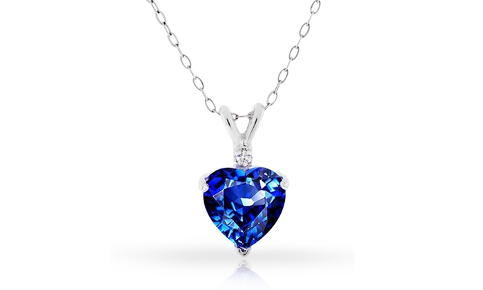 Diamond sapphire heart pendant groupon goods 400 cttw genuine diamond sapphire heart pendant in sterling silver 400 cttw genuine diamond aloadofball Image collections