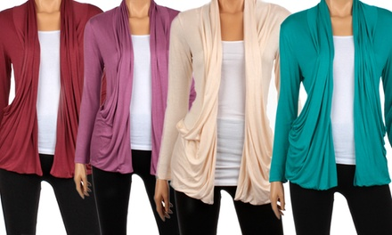 Women's Lightweight Draped Cardigans with Pockets