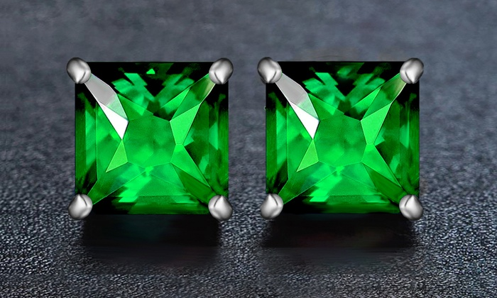 ba973e01e099a 2.00 CTTW Emerald Princess Cut Sterling Silver Studs by Valencia Gems