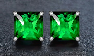 2.00 CTTW Emerald Princess Cut Sterling Silver Studs by Valencia Gems