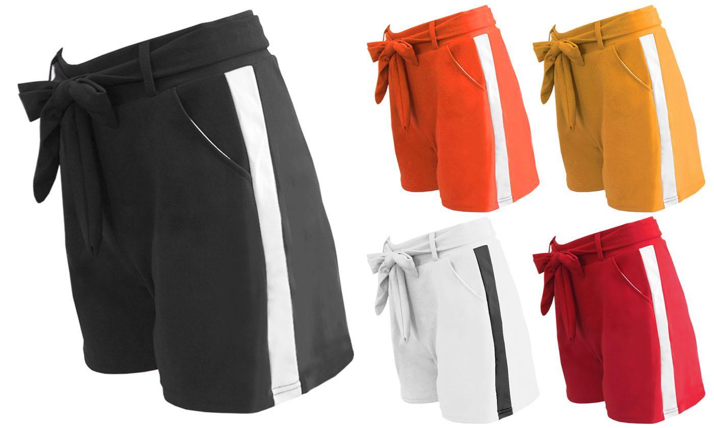 Women's Block Stripe or Smart Belted Shorts
