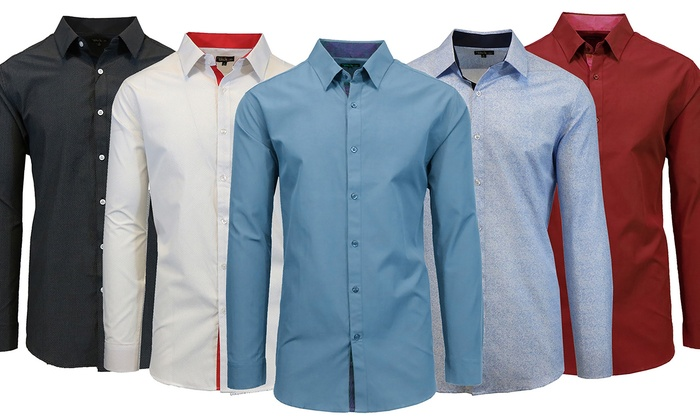 Men's Slim Fit Solid and Printed Long Sleeve Shirts