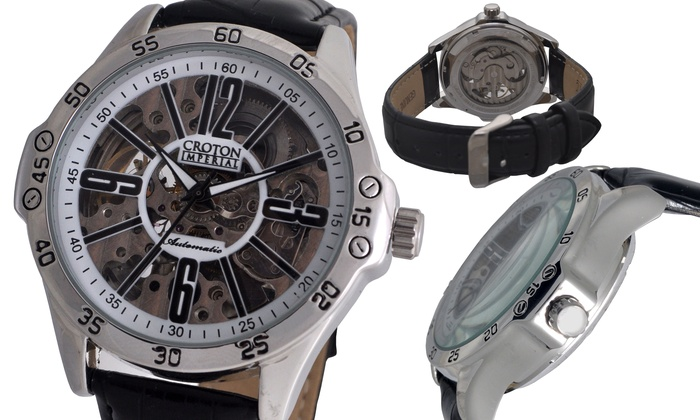 Croton Men's Imperial Watch: Croton Men's Imperial Watch with Genuine Leather Strap.