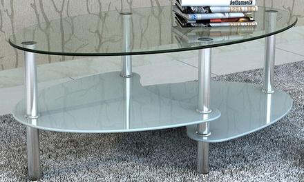 Jusqu 39 7 table basse en verre vidaxl groupon for Groupon table basse