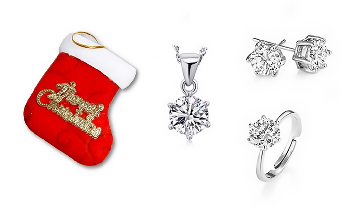 Christmas Crystal Jewellery Set with Necklace, Ring and Earrings - One ($19), Two ($35) or Three ($49)