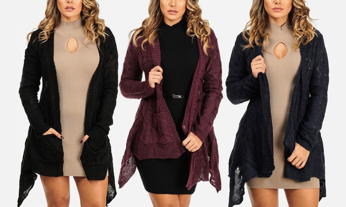 Open Front Cable Knit Cardigan Groupon Goods