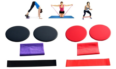 Yoga Sliding Plate and Resistance Band Set: One ($19) or Two ($29)