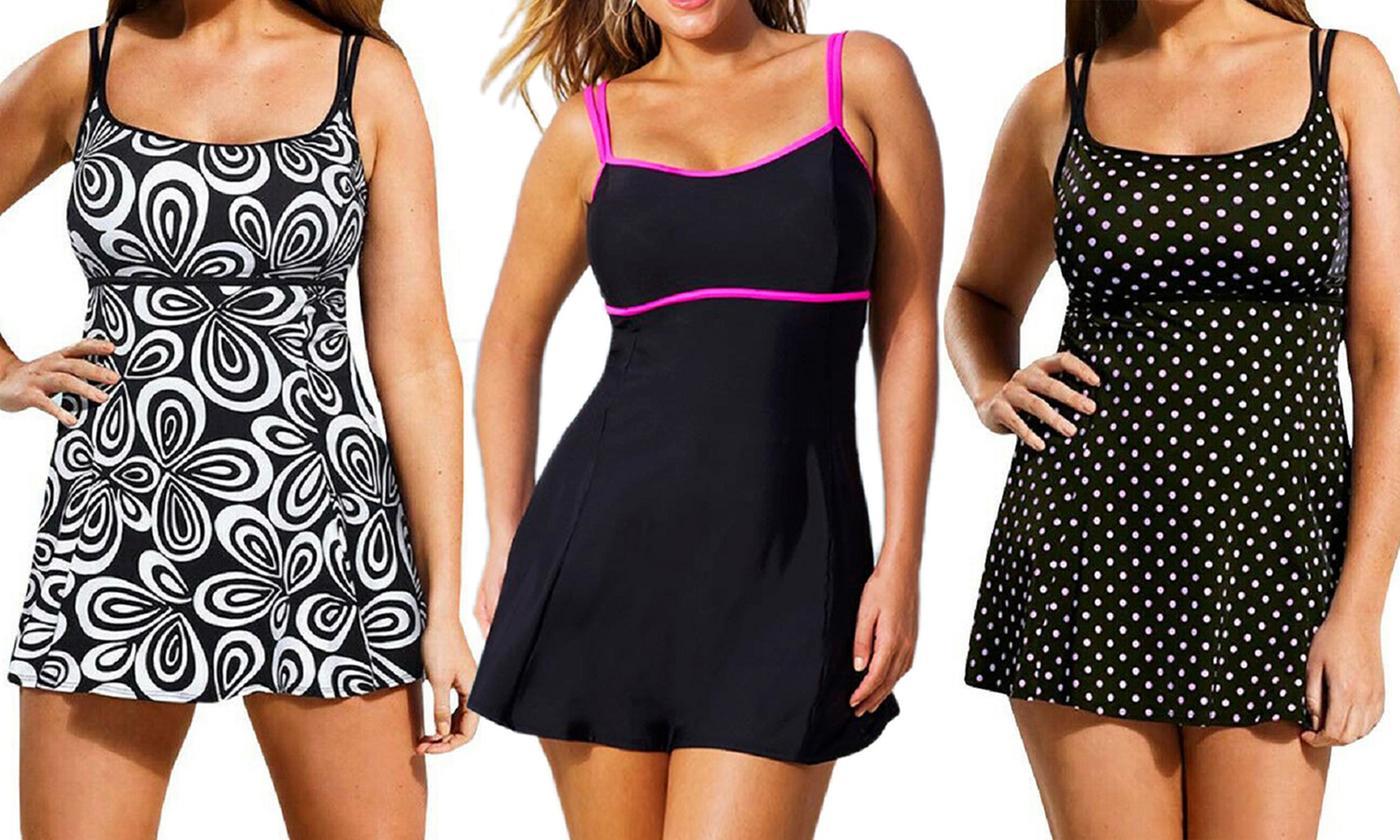 Women's Monochrome Swimdress Swimsuit