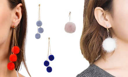Fluffy Pom Pom Earrings: Three Pairs $15 or Six Pairs $25