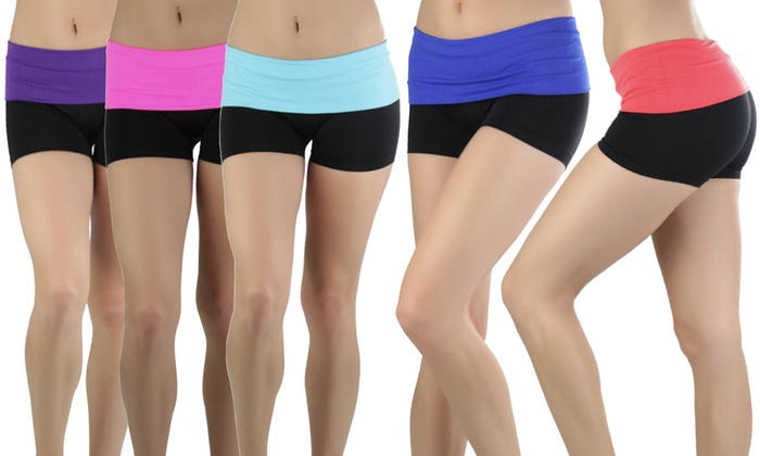 Women's Fold-Over Waist Active Shorts (5-Pack)