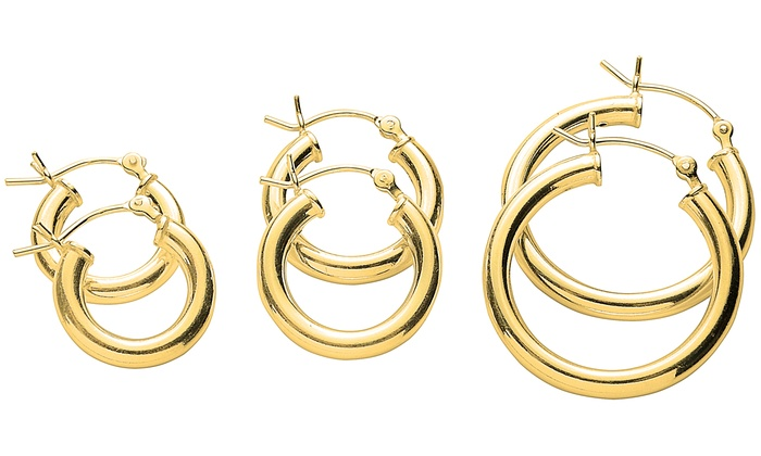 Italian Hoop Earrings In 14k Gold Plating Set 3 Piece