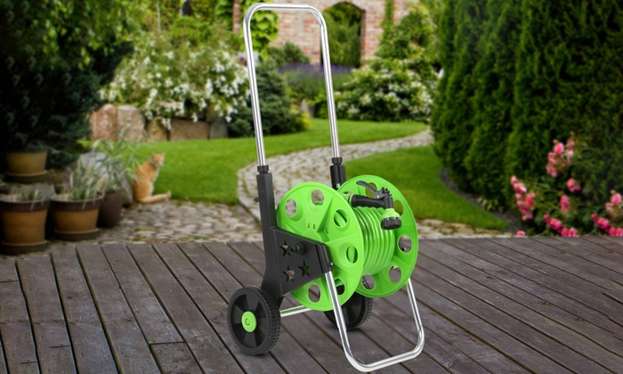 Garden hose and sprinkler with cart groupon goods for Gardening 4 less groupon