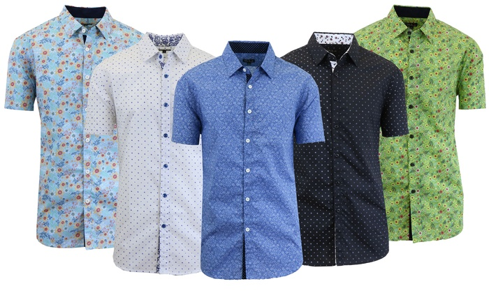Men's Short Sleeve Modern Dress Shirt | Groupon