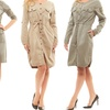 Women's Safari Military Army Fatigue Dress with Belt or Lacing