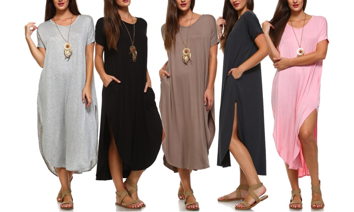 Isaac Liev Women's Short-Sleeve Maxi Dress with Slits. Plus Sizes Available.